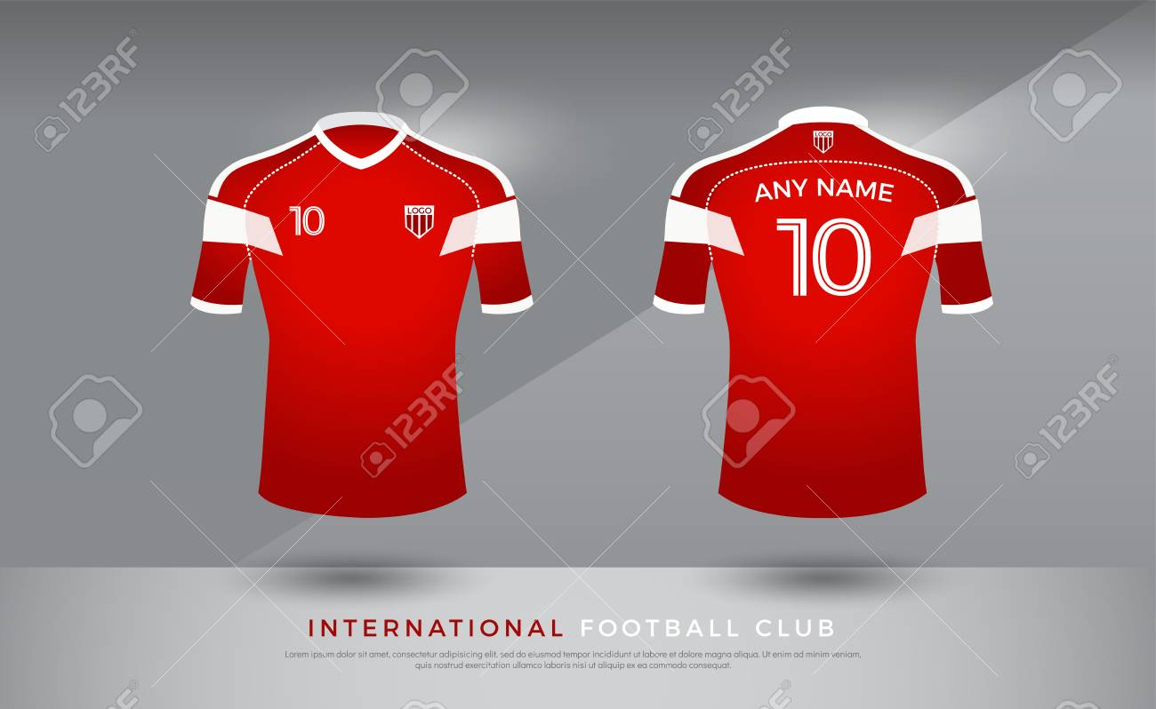 red and white football jersey