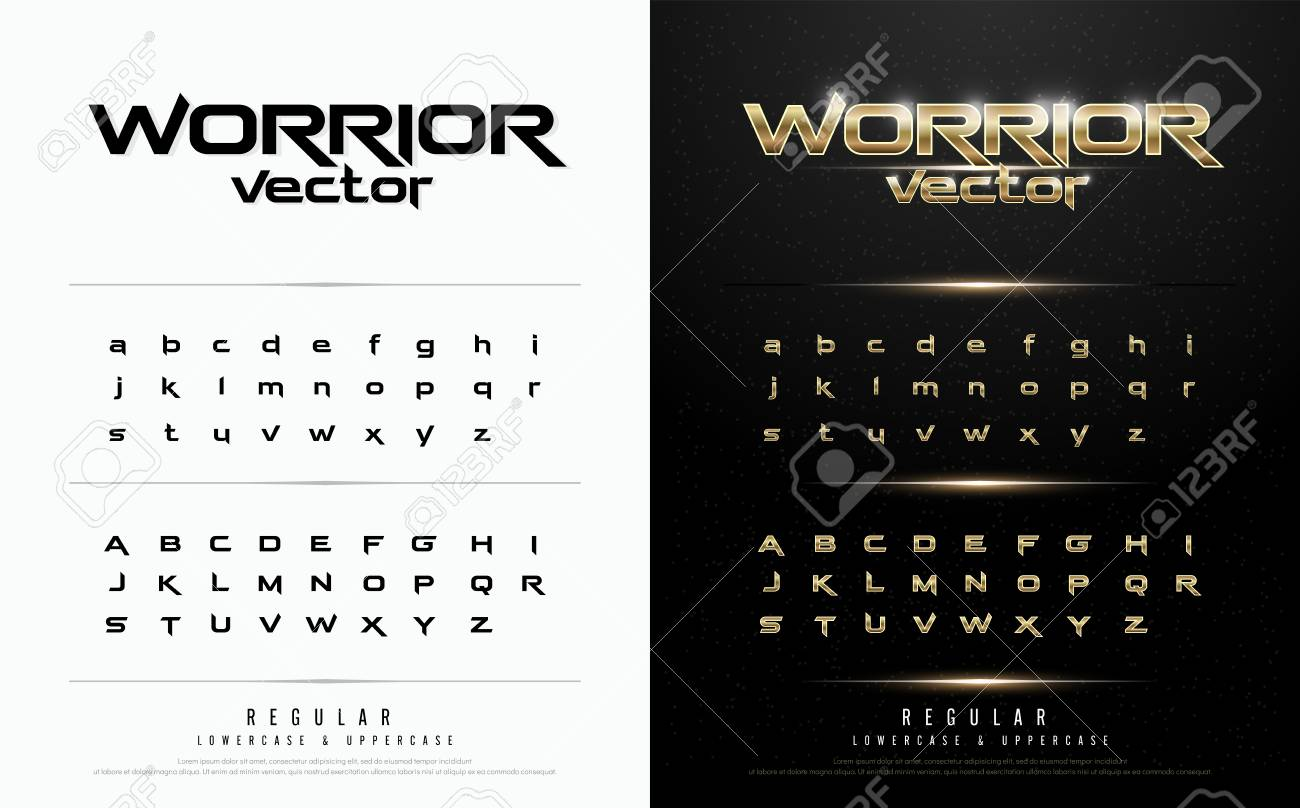 Exclusive gold Letters Typography regular font digital and sport concept. vector illustration - 97045936