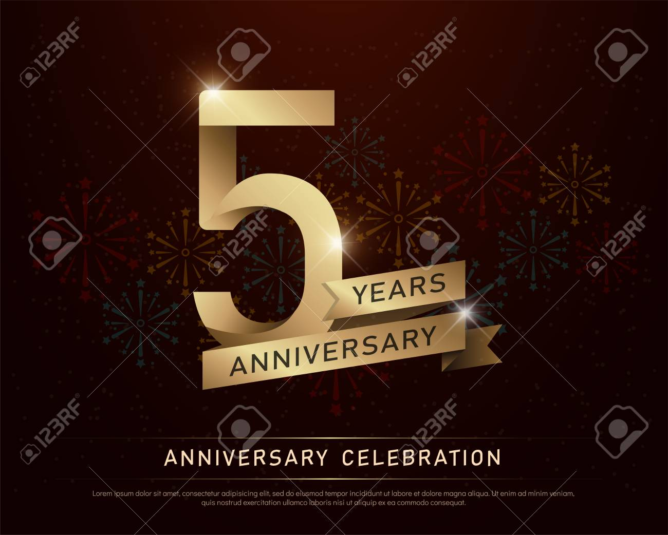 5th years anniversary celebration gold number and golden ribbons with fireworks on dark background. vector illustration - 97469819