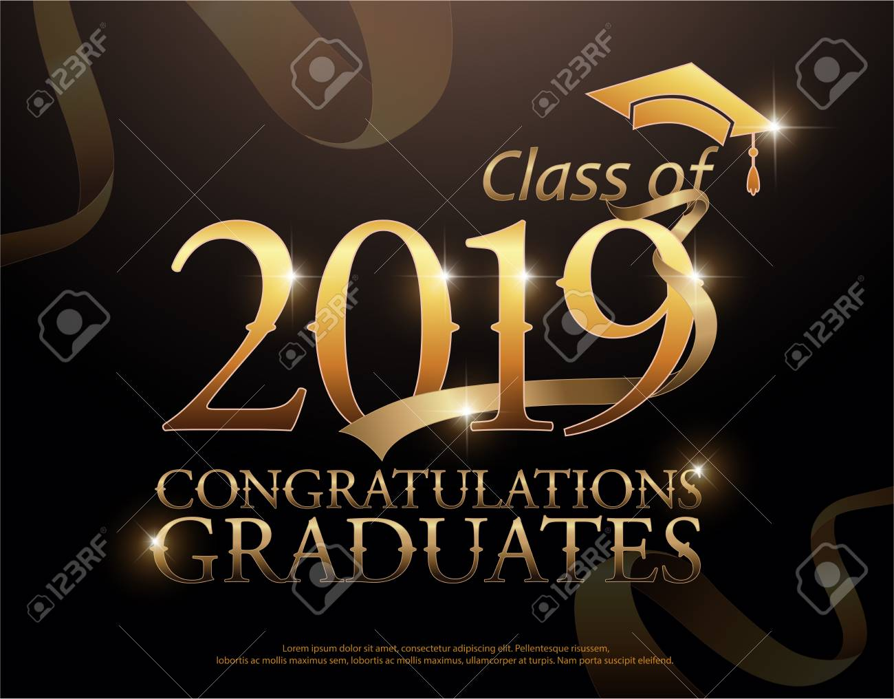 Class of 2019 Congratulations Graduates gold text with golden ribbons on dark background - 97912789