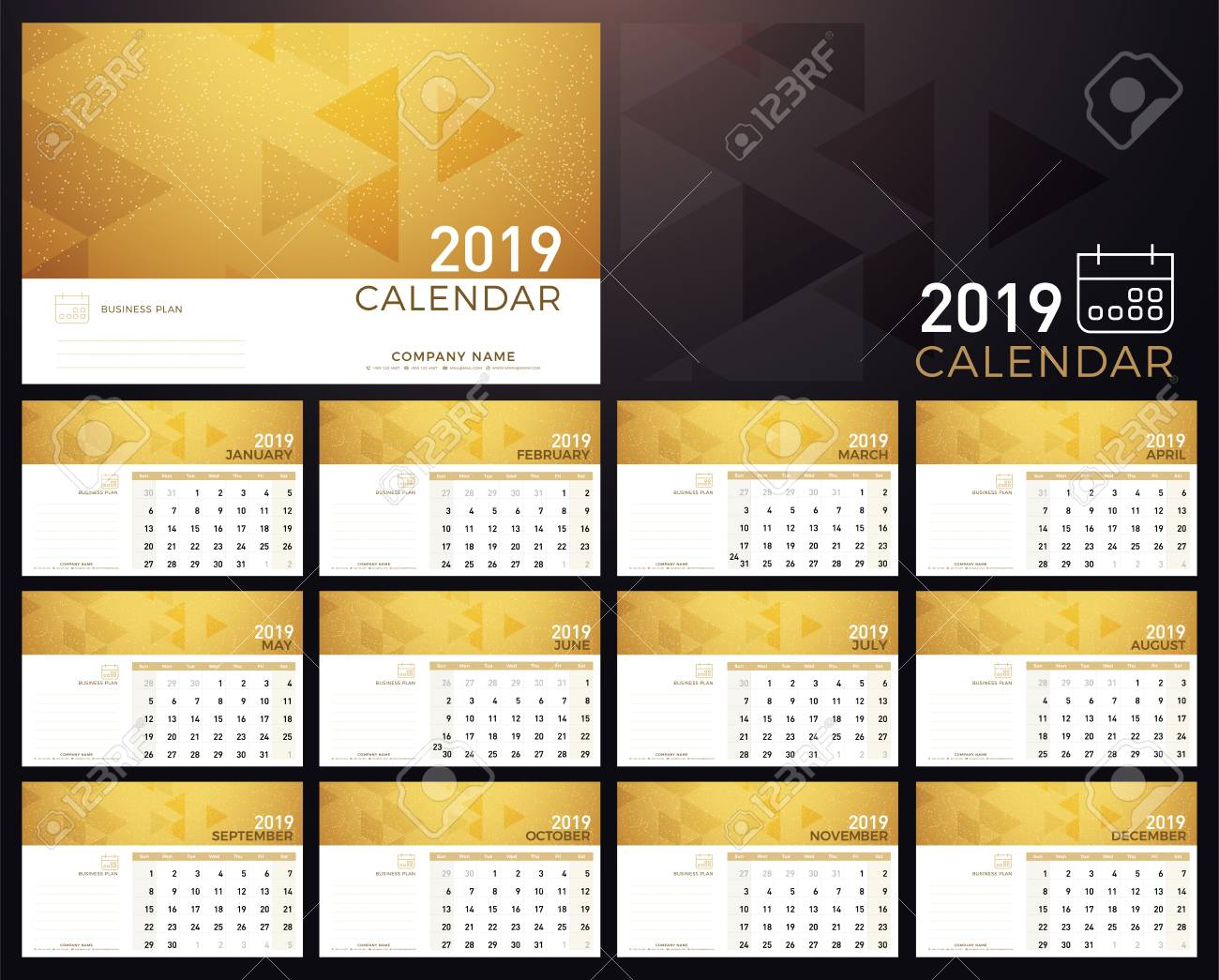Calendar Golden Planner 2019 Year Calendar Plan Simple Minimal