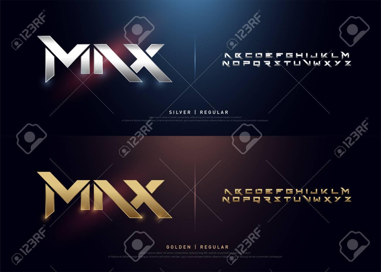 Elegant Silver and Golden Colored Metal Chrome Alphabet Font. Typography modern style gold font set for logo, Poster, Movie. vector illustration - 107410398