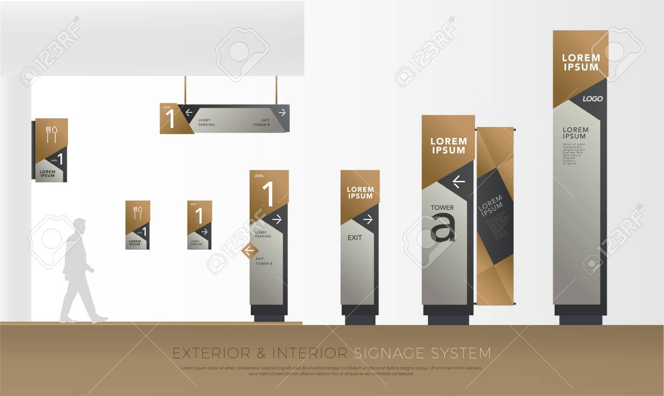 Exterior And Interior Green Eco Signage Concept Direction Pole