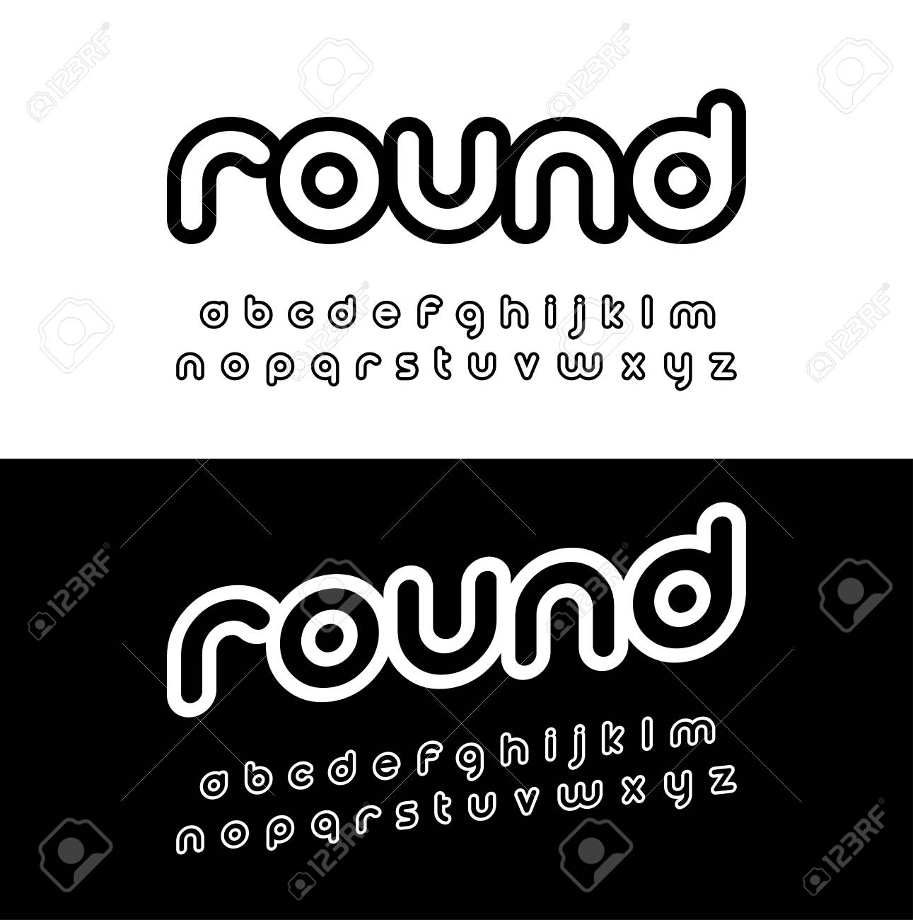 Creative rounded alphabet  Typography modern style font set for