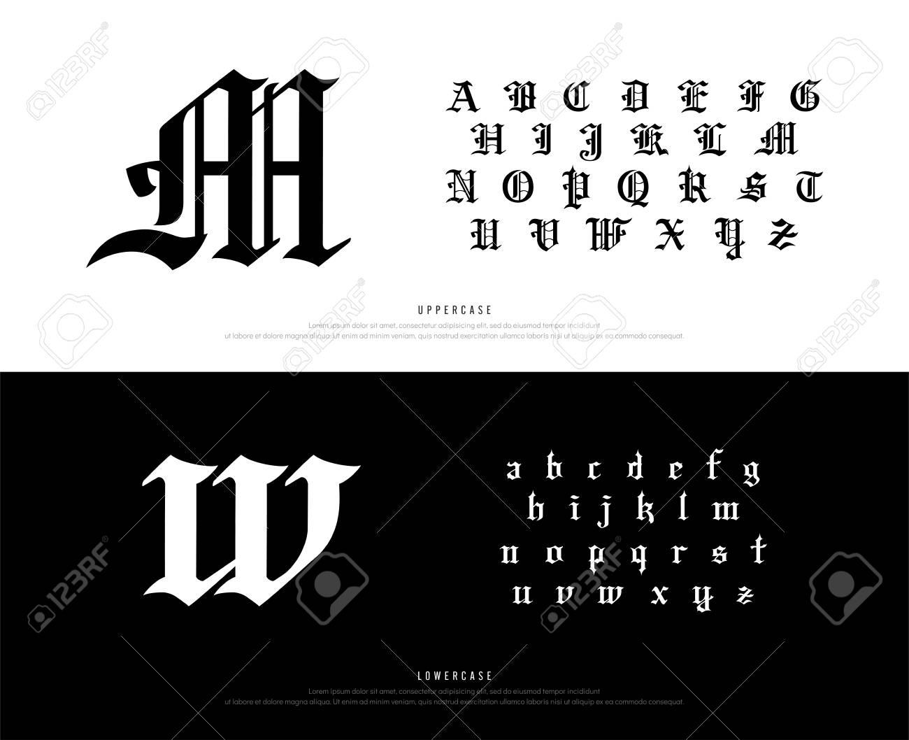 Elegant Blackletter Gothic Alphabet Font. Typography classic style font set for logo, Poster, Invitation. vector illustration.eps - 127726636