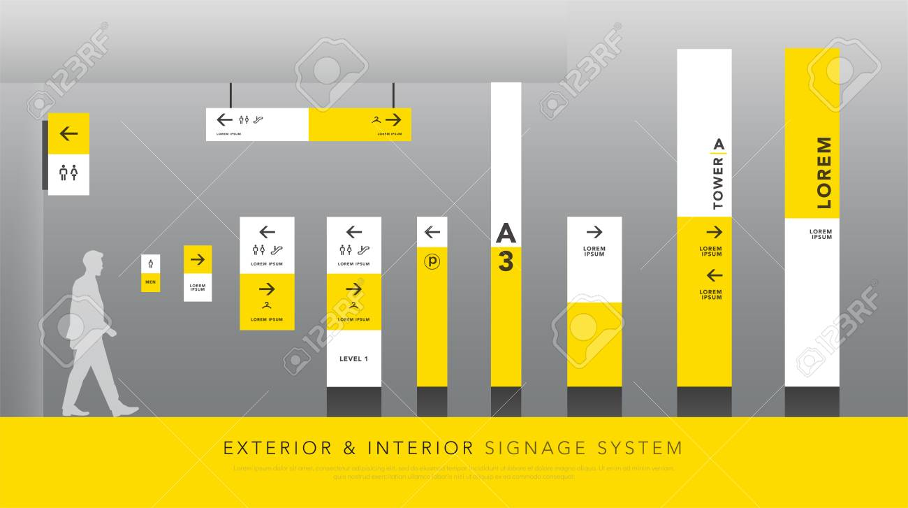 exterior and interior signage system. direction, pole, wall mount signboard and traffic signage design template set. empty space for logo, text, white and yellow corporate identity - 126336055