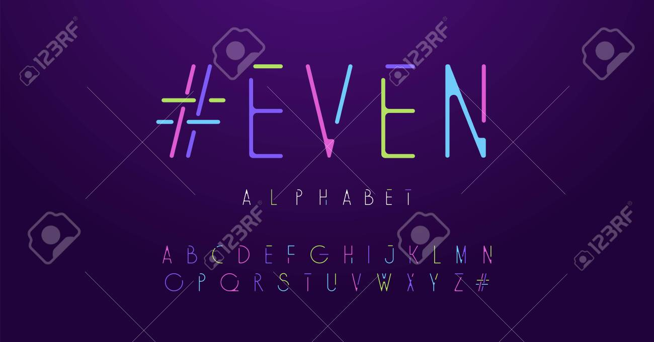 Colorful letters neon rounded font set  Colored alphabet, typography