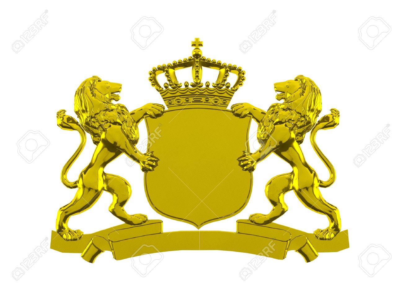 Gold Lion Crest Banner Stock Photo, Picture And Royalty Free Image ...