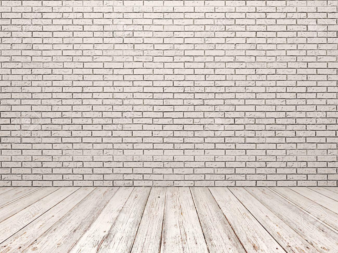 pared de ladrillo blanco y el piso de madera blanca foto de archivo - Pared Ladrillo Blanco