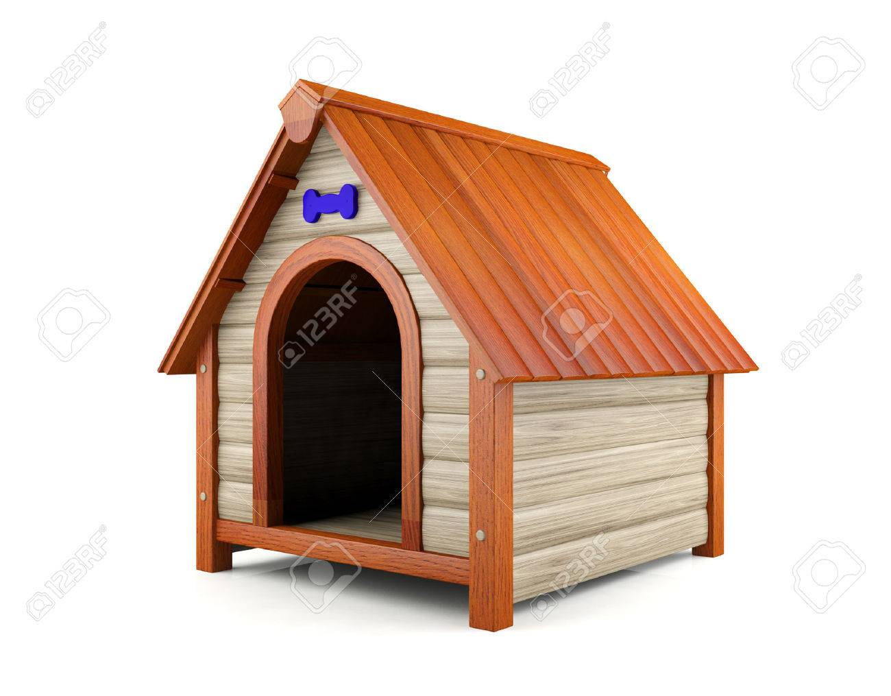 Wooden Dog House Isolated On White Background Stock Photo Picture