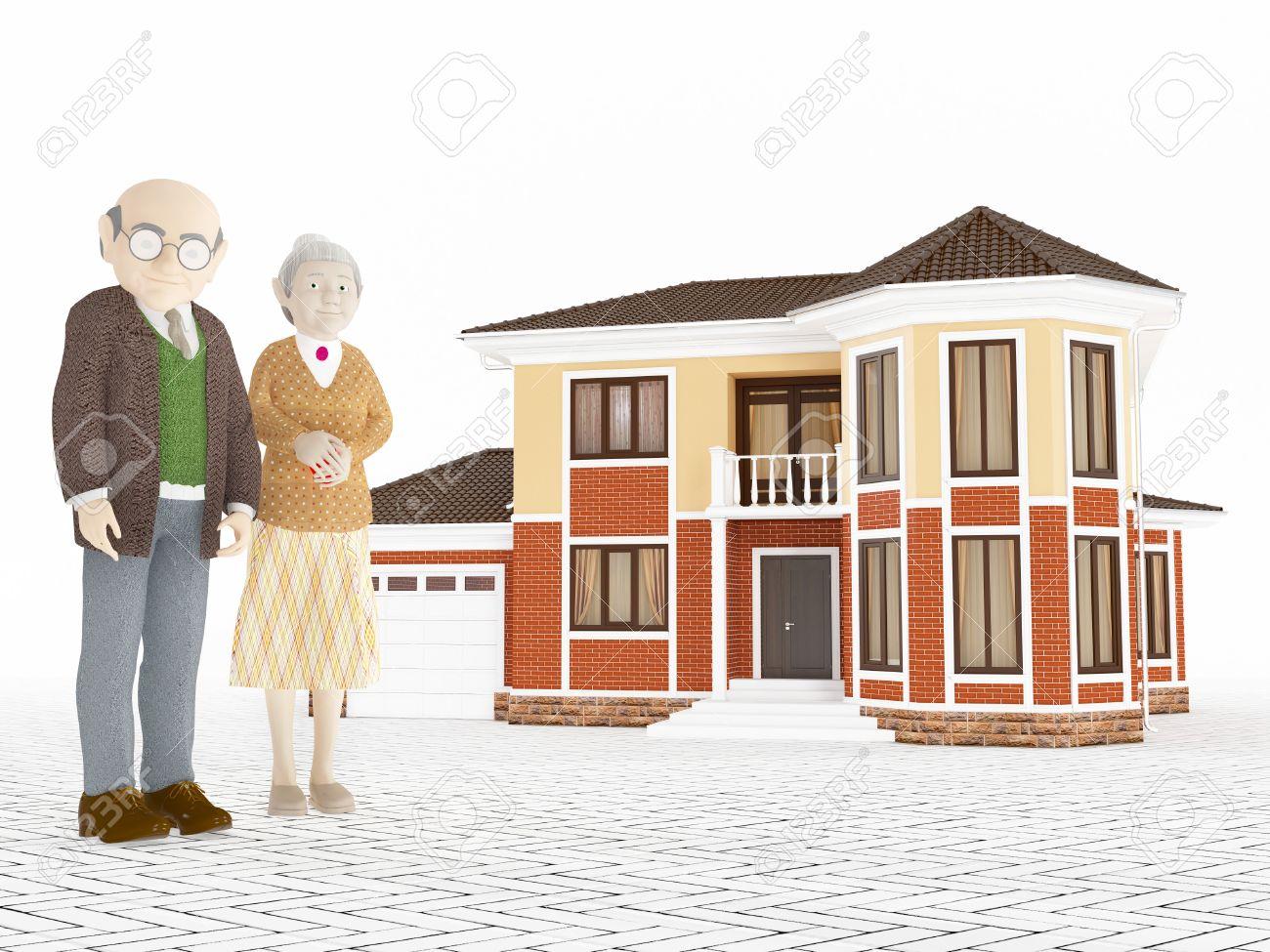 Banque dimages couple dessin animé senior debout en face de grande notion maison de retraite