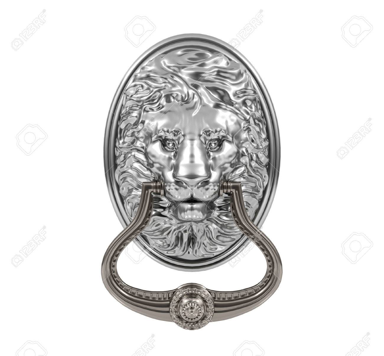Beau 3D Silver Lion Door Knocker Isolated On White Background Stock Photo    47937670