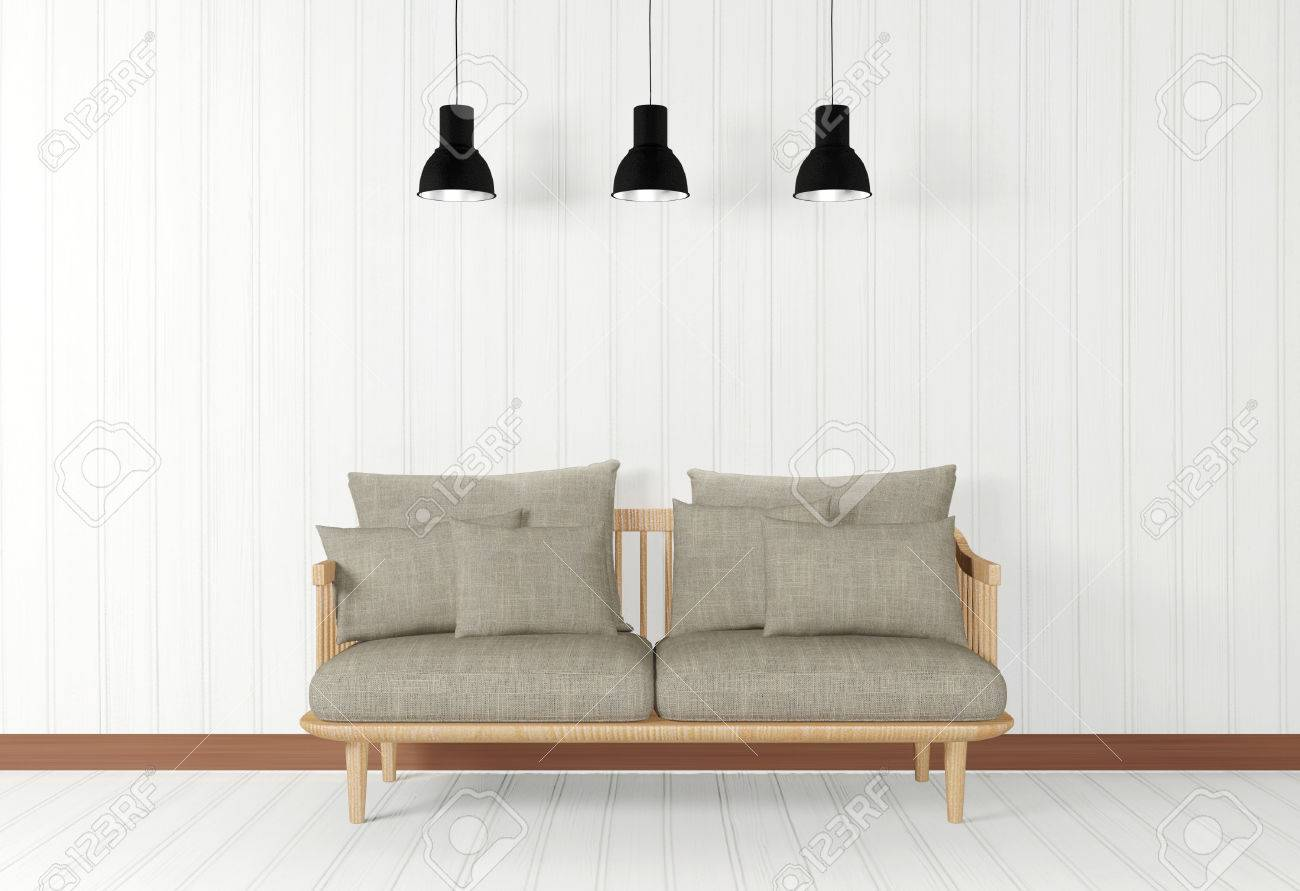 White Room Interior In Minimal Style With Sofa And Ceiling Lamps ...