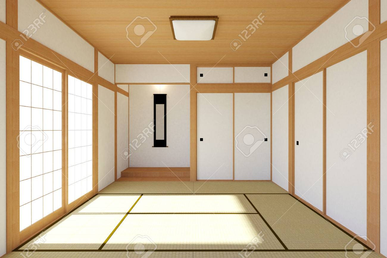 Empty Japanese Living Room Interior In Traditional And Minimal ...