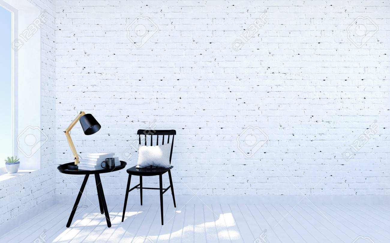 Stock photo white brick modern living room interior with living space black furniture nearby room window