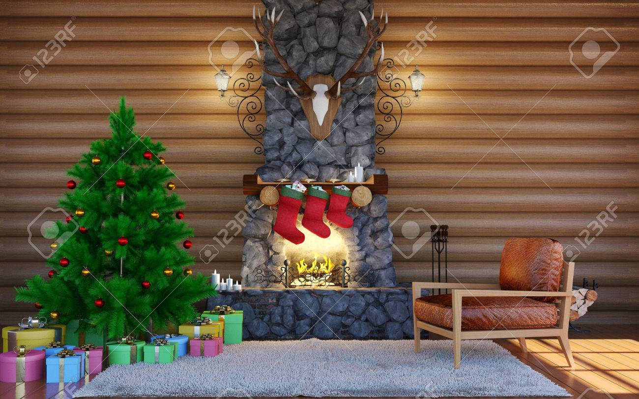 Log Cabin Christmas.Christmas Festive Decorations Room Interior In Log Cabin Building