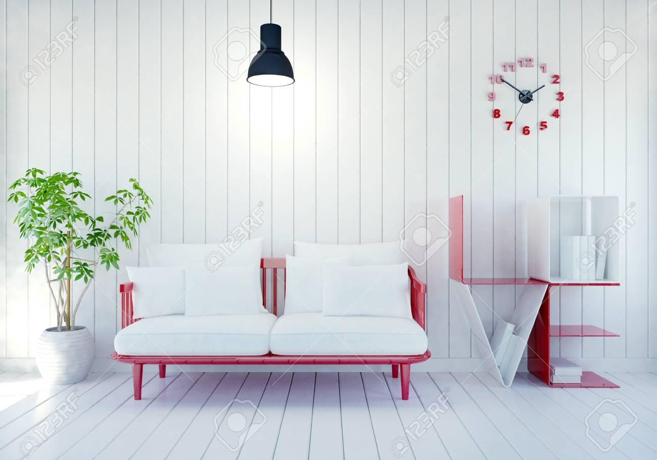 Interieur Weiße Moderne Zimmer Mit Wort Liebe Buchregal Für Valentinstag,  3D Rendering Standard