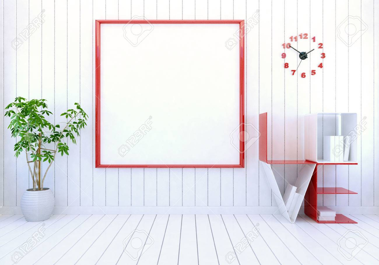 Interieur Weiße Moderne Zimmer Mit Leeren Bilderrahmen An Der Wand ...