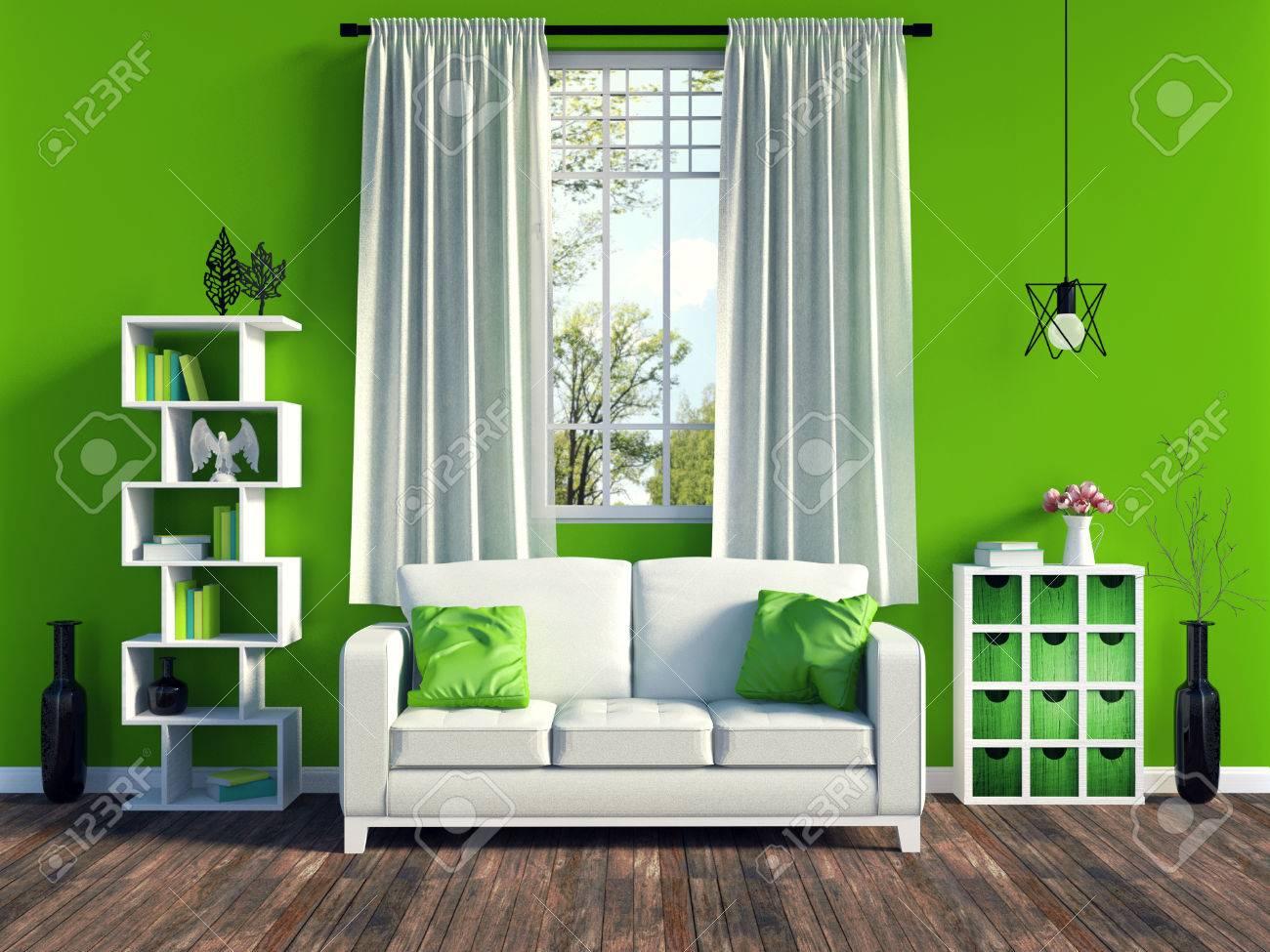 Salon de salon vert moderne avec canapé blanc et meubles et vieux plancher  en bois, rendu 3D