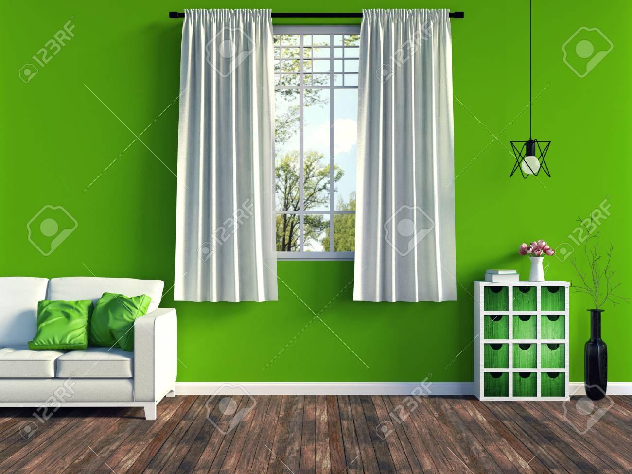 Salotto Moderno Verde : Moderno salotto verde con divano bianco e mobili e vecchie