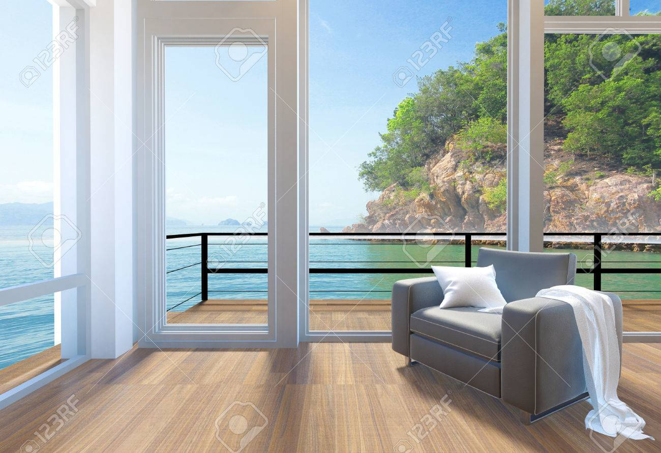 Empty Modern Living Room Interior With Large Windows And Sea View