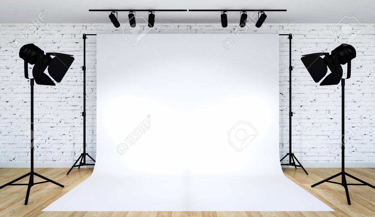 Photo studio lighting set up with white backdrop, 3D Rendering - 120357865