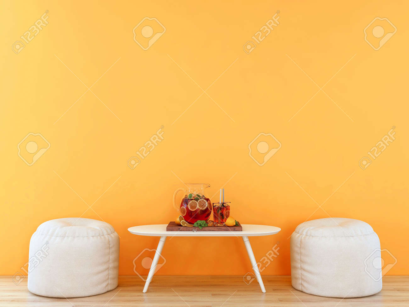Room interior with empty orange wall with white furniture and infused water set, 3D Rendering - 150916161