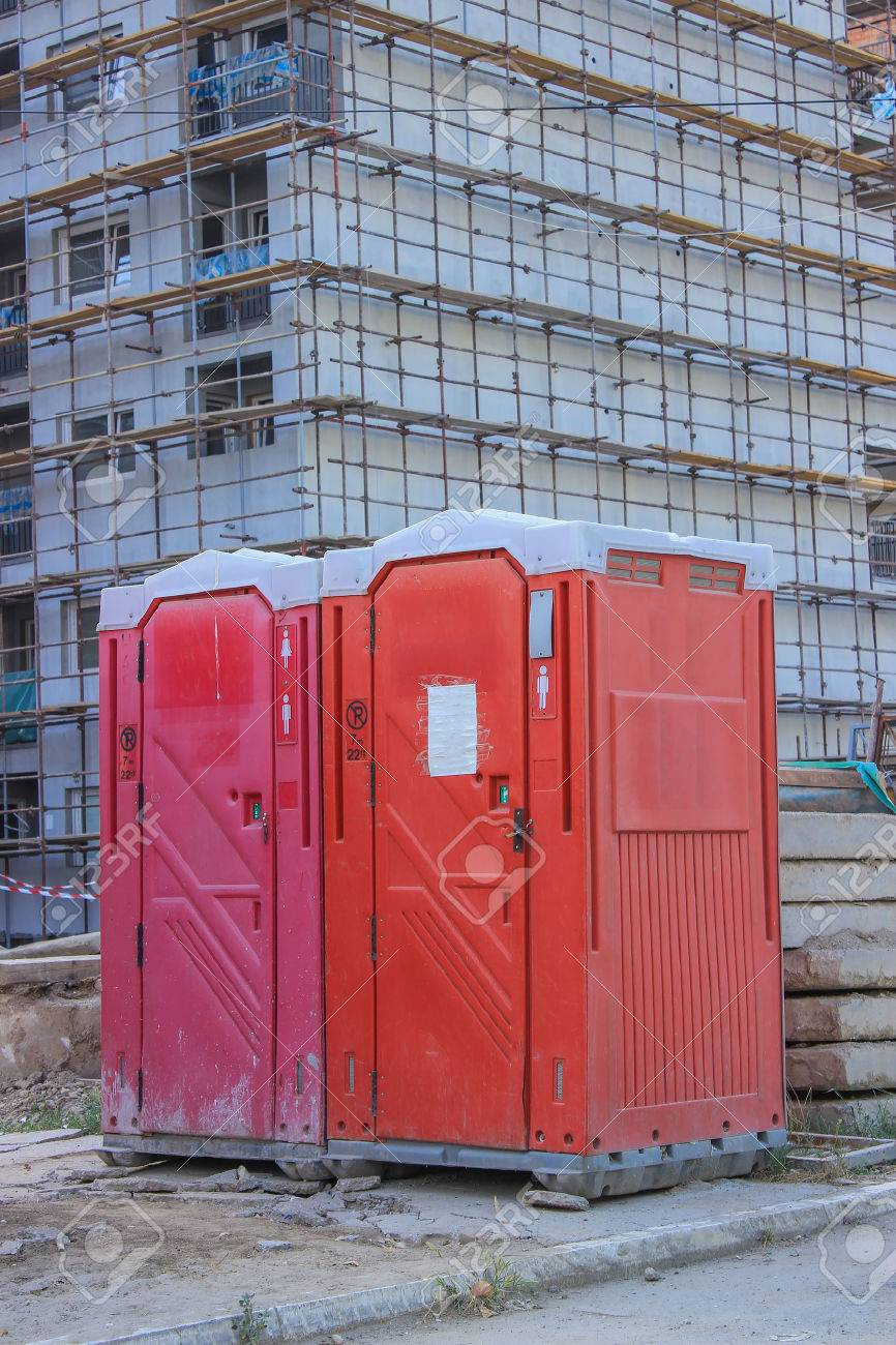 mobile toilet at construction site. used by workers at the construction site. Stock Photo - 22931311