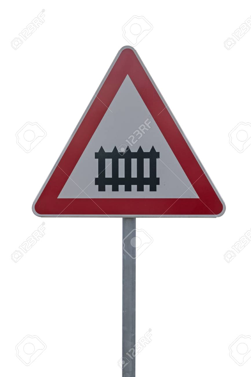 Railway crossing sign, train railroad crossing sign isolated