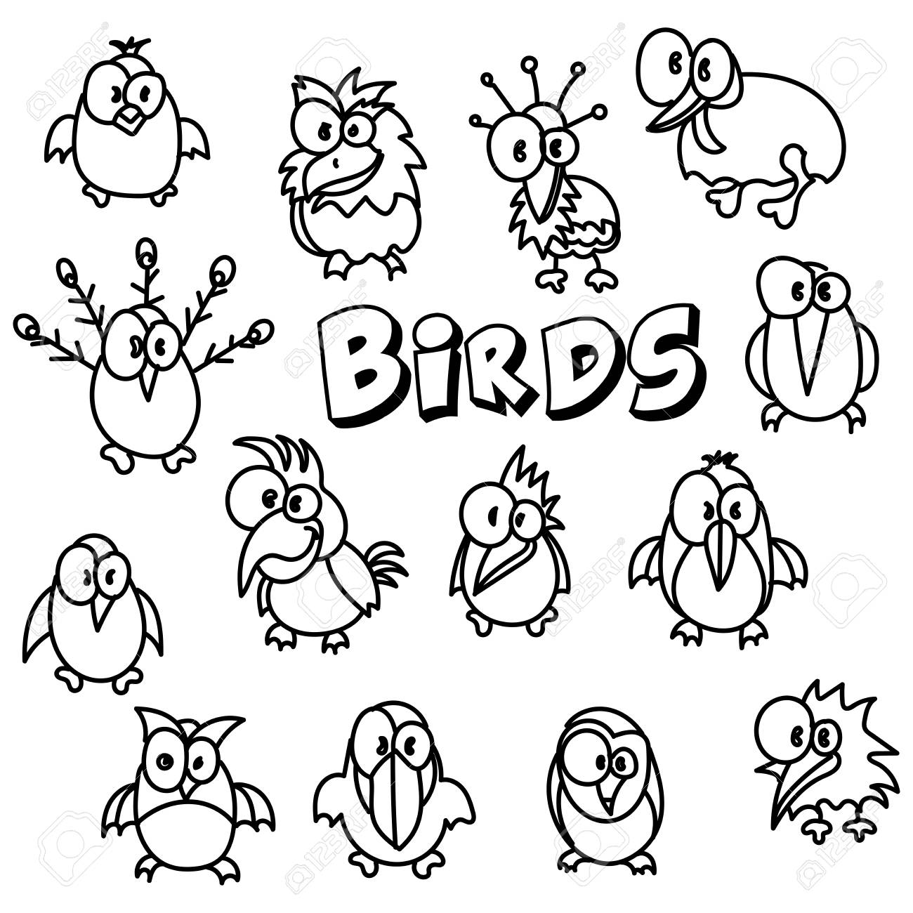 Vector Hand Drawing Cartoon Collection With Cute Doodle Birds Royalty Free Cliparts Vectors And Stock Illustration Image 104904323