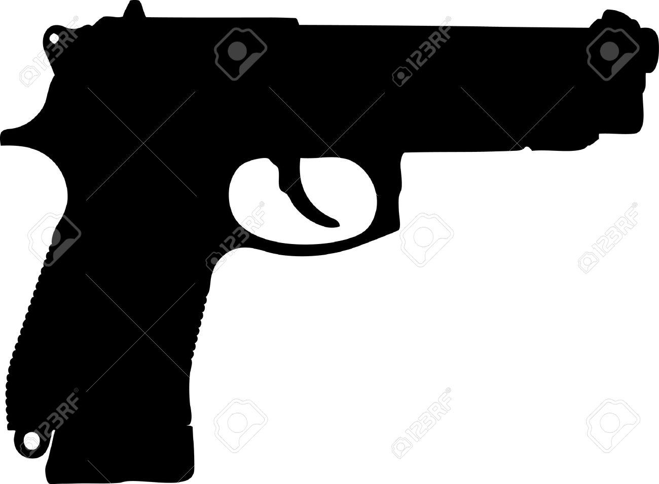 silhouette of pistol on a white background Stock Vector - 9163637