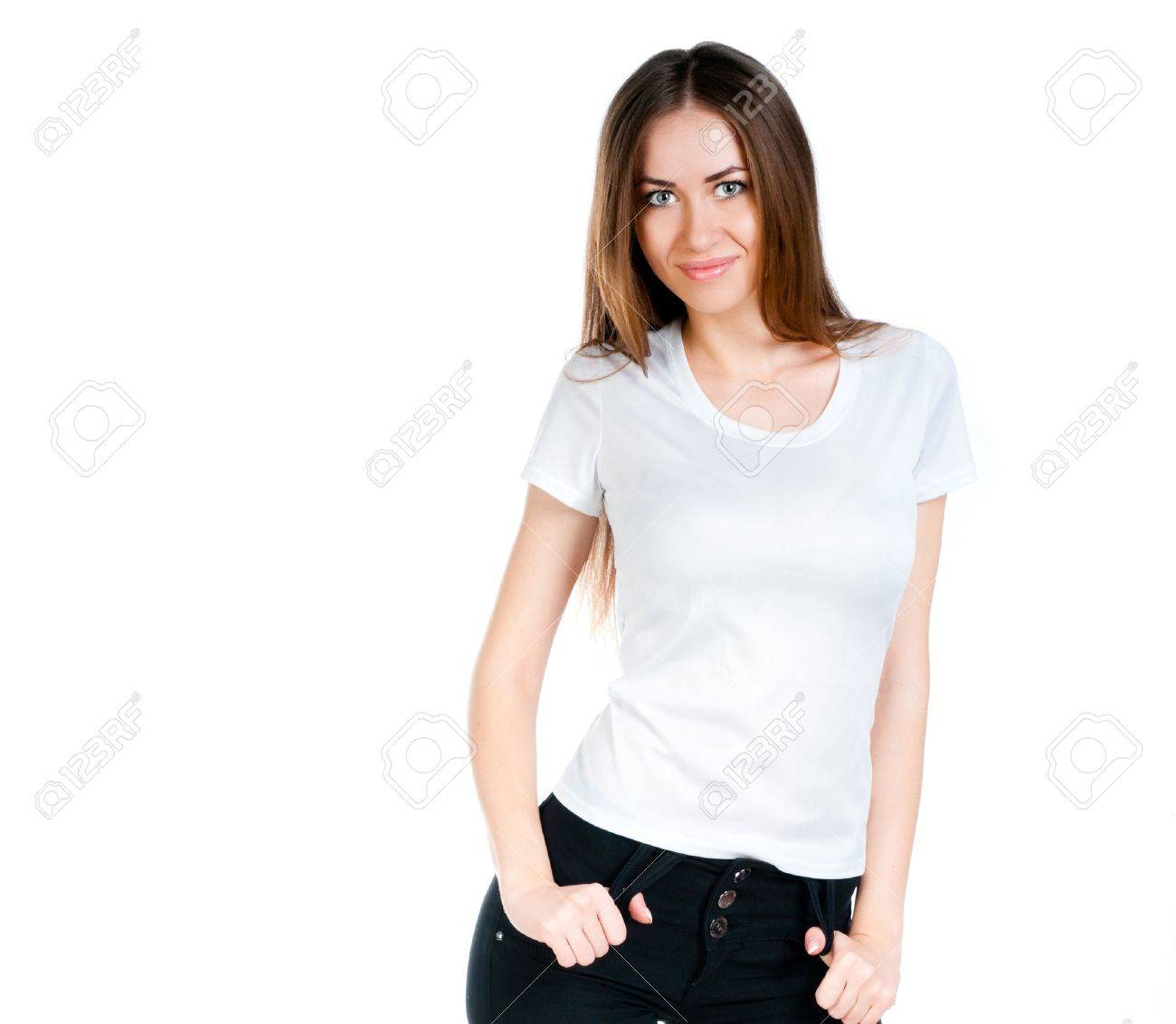 Design your own t-shirt female - Beautiful Teen In A Blank White T Shirt For You To Add Your Own Text