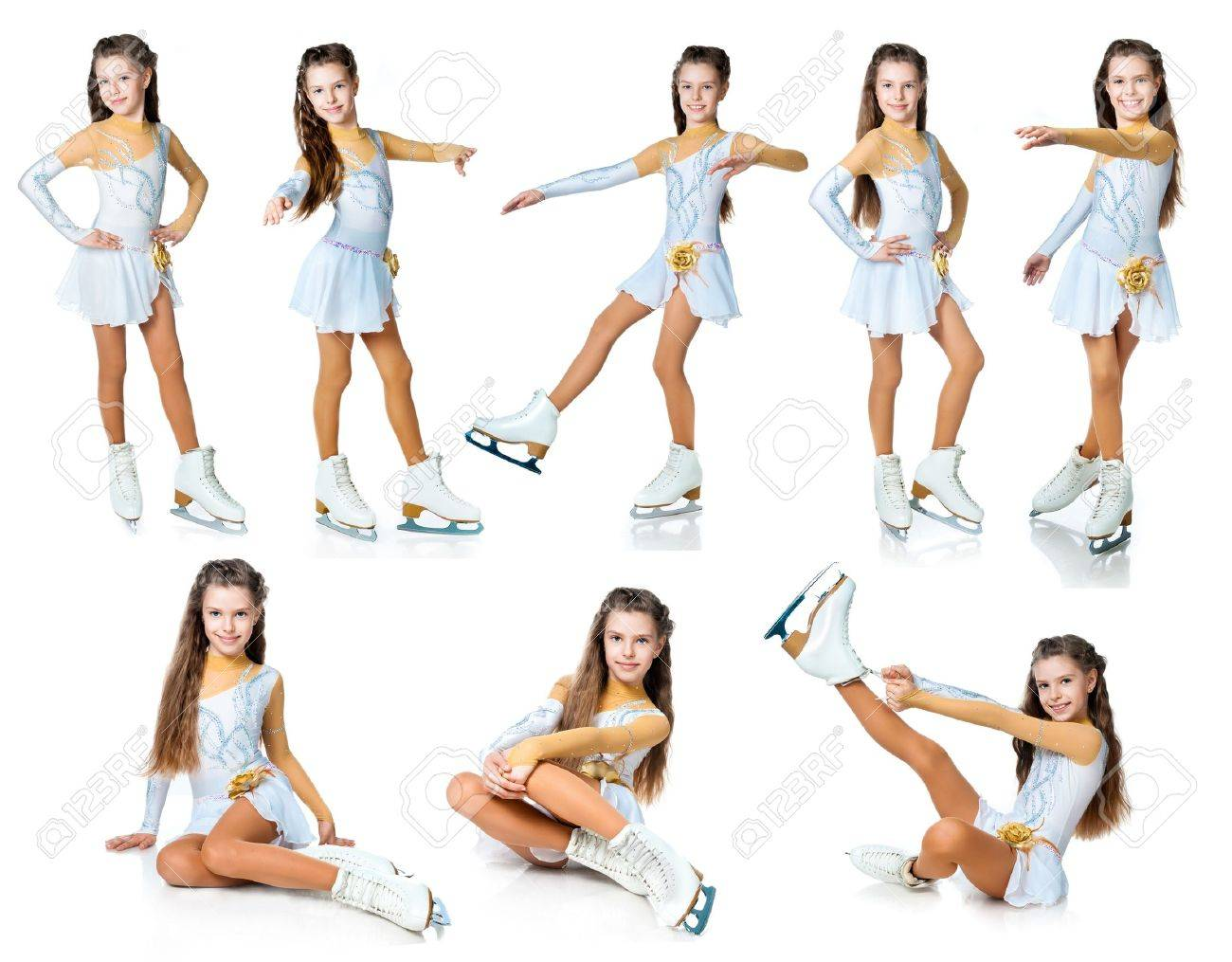 girl on skates collection isolated on white Stock Photo - 11354369