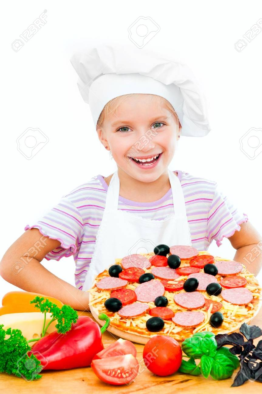 Young girl shows a pizza on a white background Stock Photo - 15141621