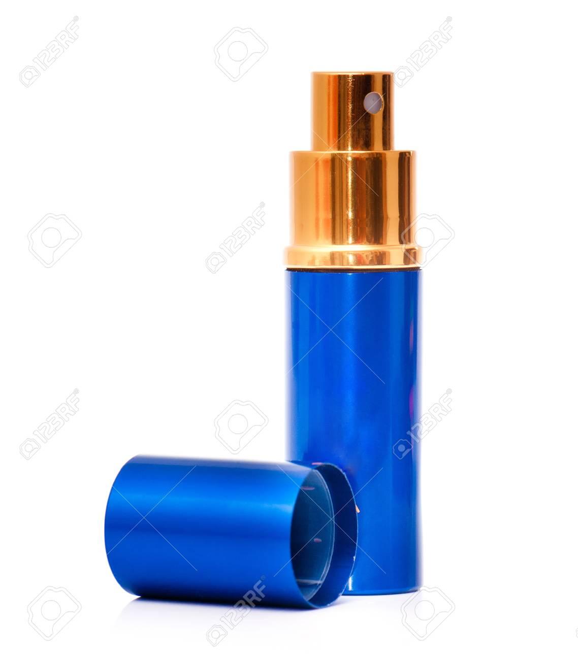Backgroung Bouteille Un Vide En Isolé Verre Bleu De Parfum Blanc Sur qzUMVSGp