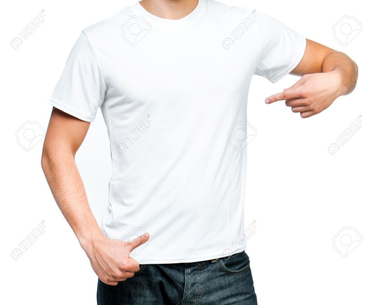 White t shirt for design - White T Shirt On A Young Man Isolated Ready For Your Design Stock Photo