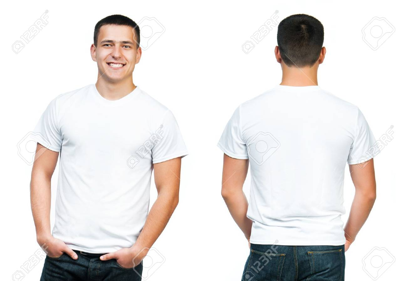 White T-shirt On A Young Man Isolated, Front And Back Stock Photo ...
