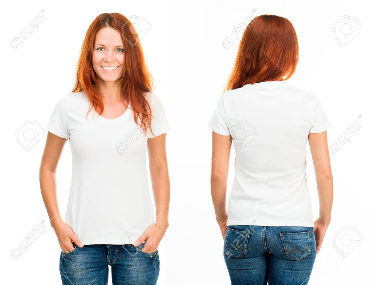 White T-shirt On A Smiling Girl, Front And Back Stock Photo ...