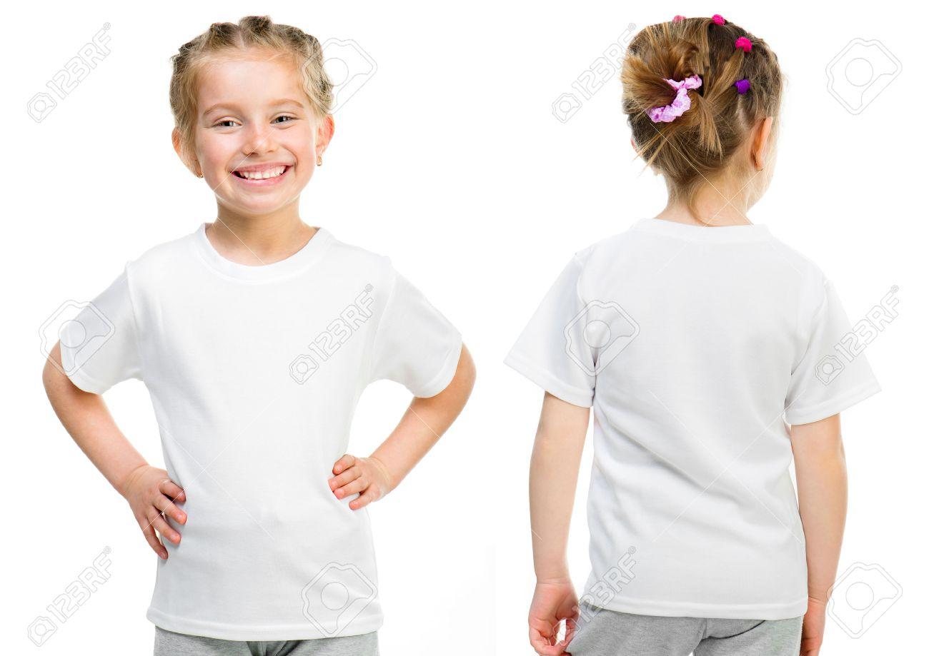 95c879bd3 Foto de archivo - Niña en una camiseta blanca aislada en fondo blanco,  delante y detrás