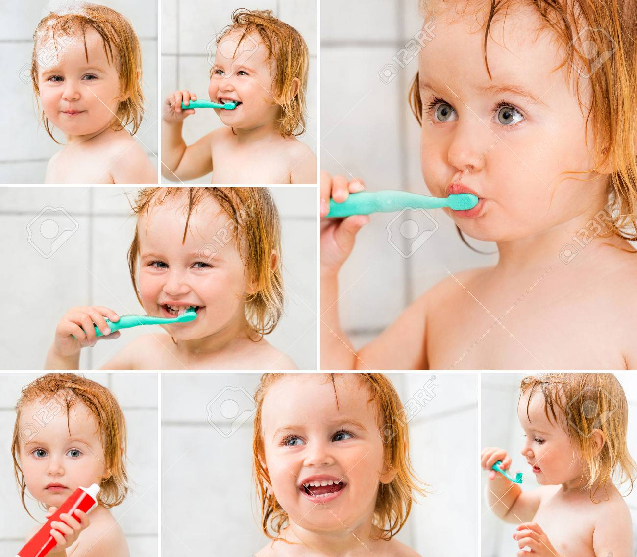 photo collage dental hygiene cute baby brushing teeth in bathroom stock photo 39649370