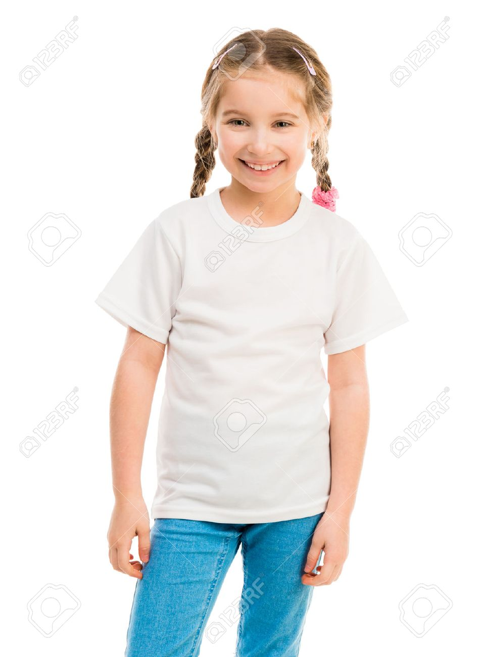 a4ddd4a8f cute little girl in a white T-shirt and blue jeans on a white background