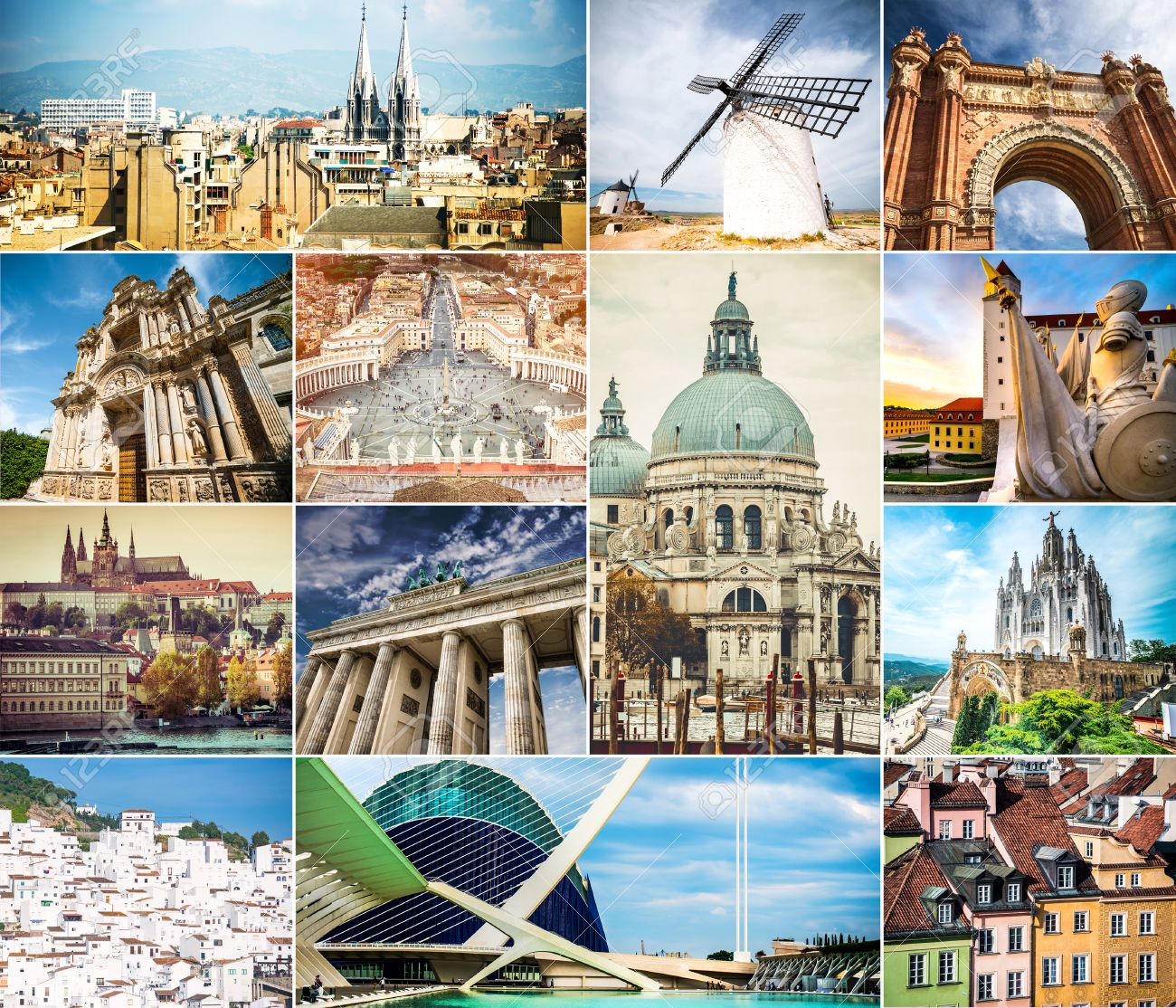 Photo Collage Of Architecture Ancient Cities Europe Stock