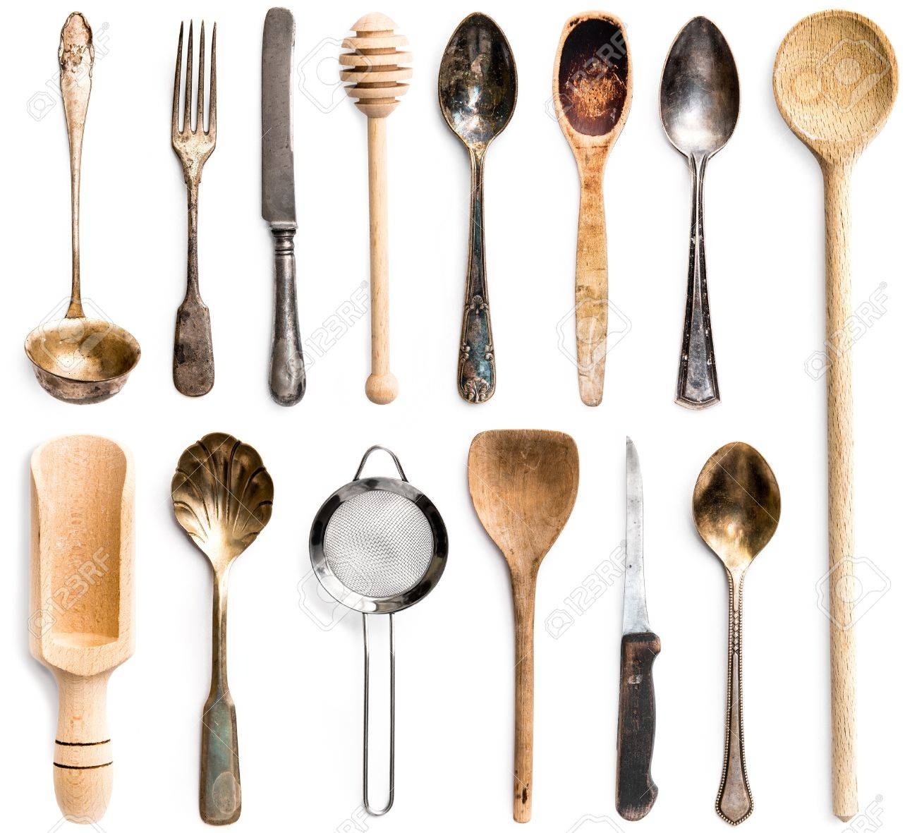 Photo Collage Of Wooden Or Metal Kitchen Utensils Isolated On ...