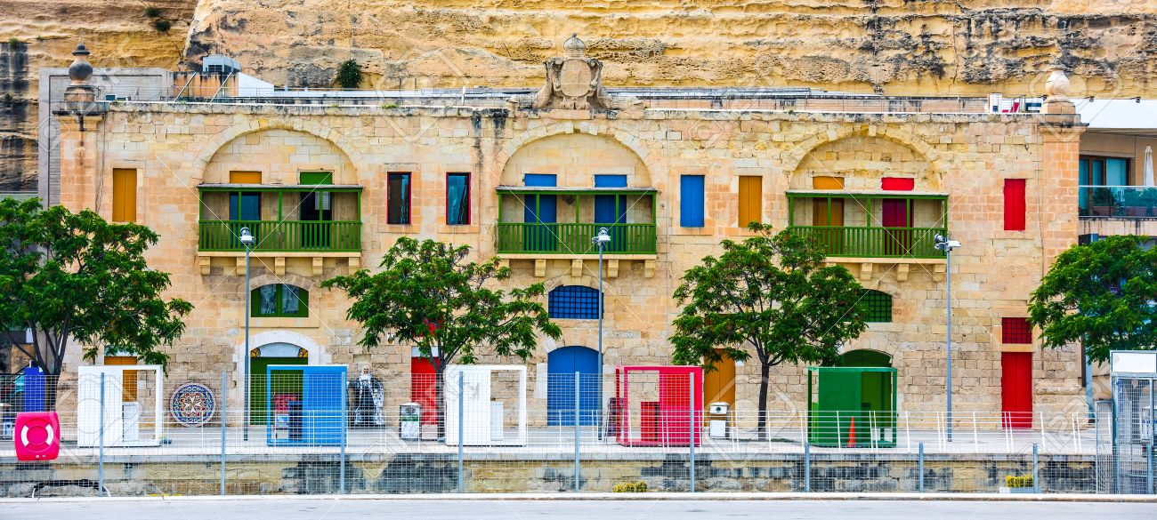 colorful doors and windows in Valletta embankment street in Malta Stock Photo - 41161801 & Colorful Doors And Windows In Valletta Embankment Street In Malta ...