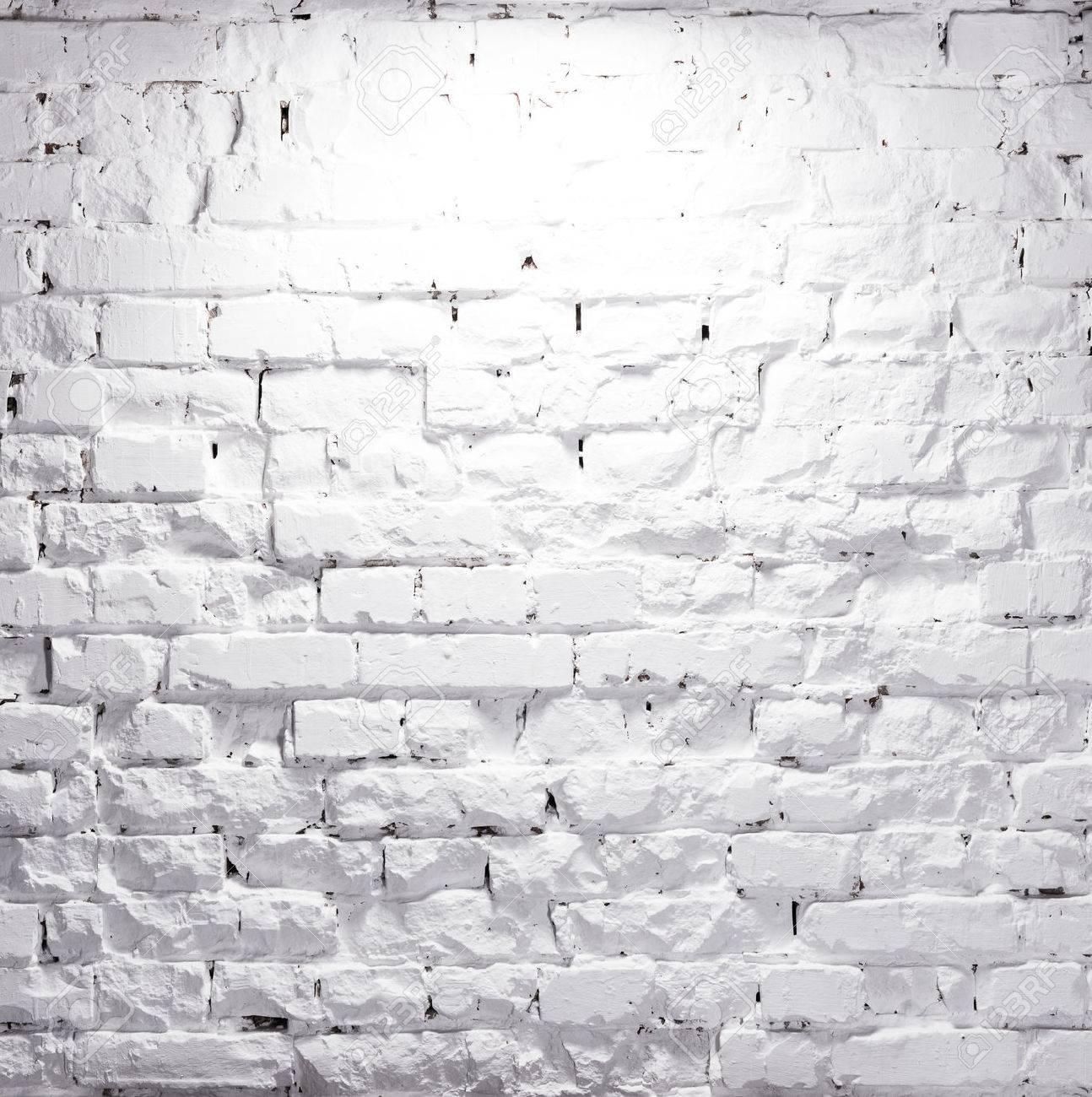 texture of illuminated brick whitewashed wall - 53785876
