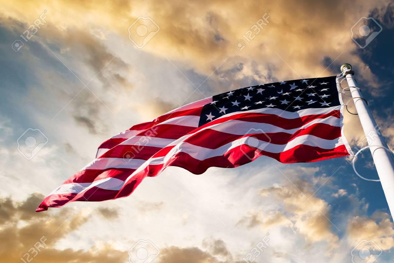 american flag waving blue sky - 53785919