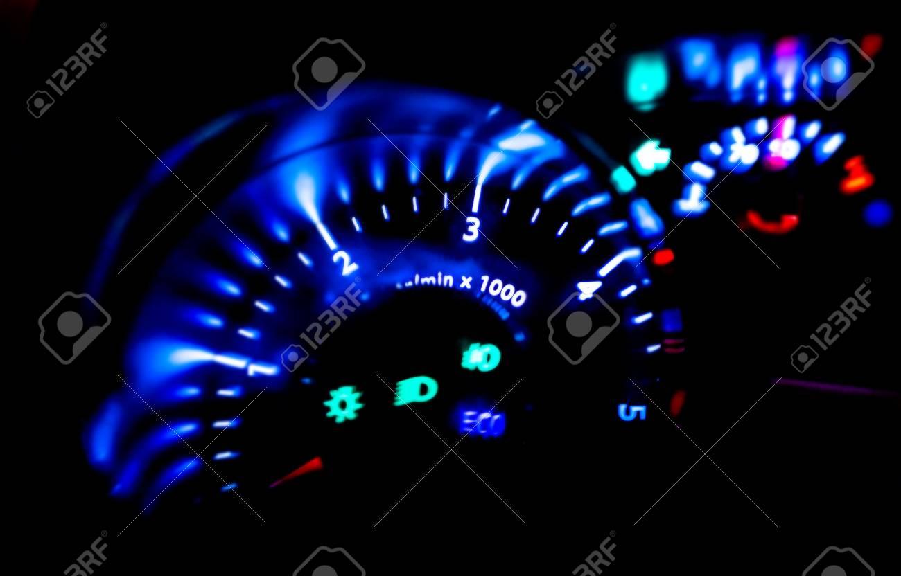 Modern Car Dashboard Lights At Night Stock Photo   86359602