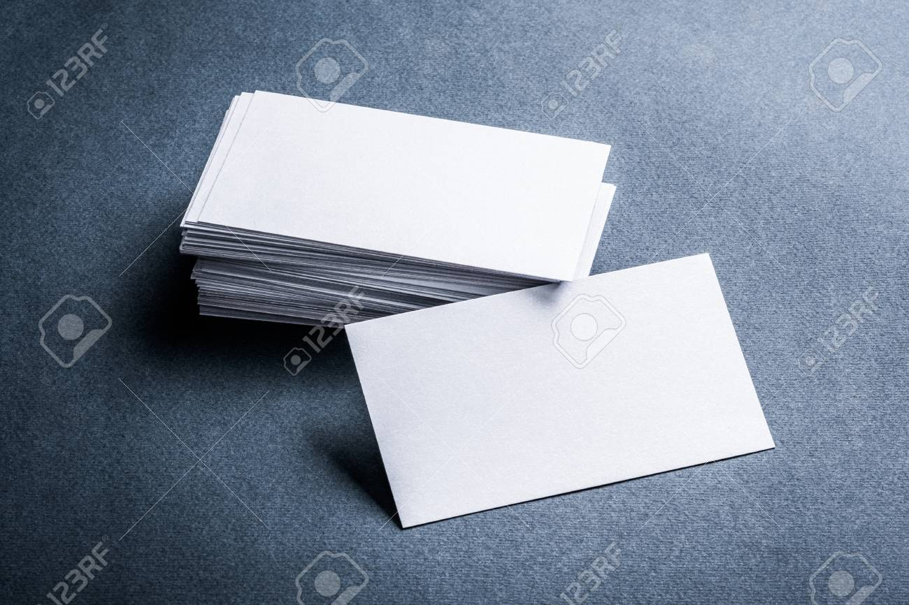 Two Stacks Of Blank Paper Business Cards On Textured Background ...