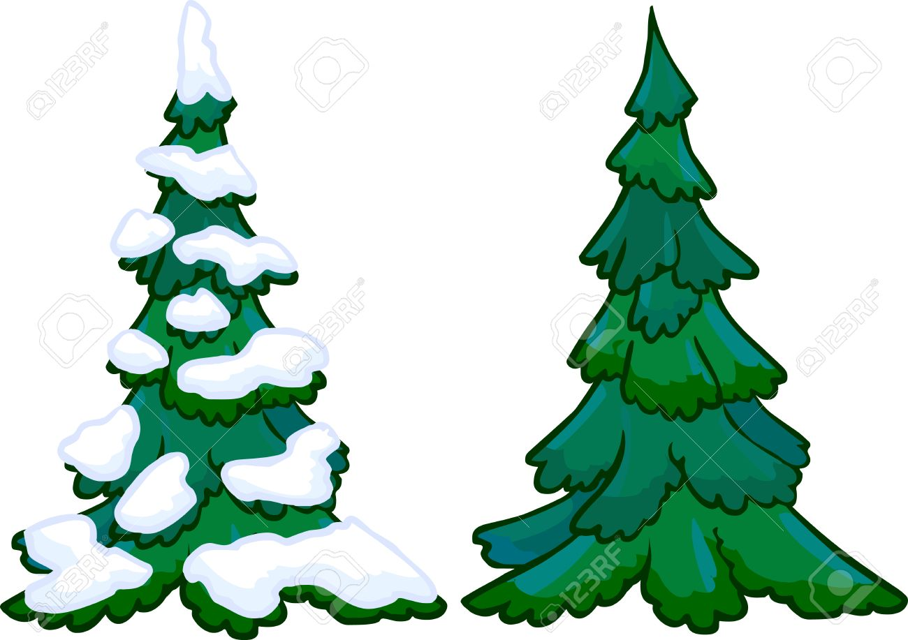 Cartoon Tree Covered In Snow / Covered snow tree illustrations & vectors.