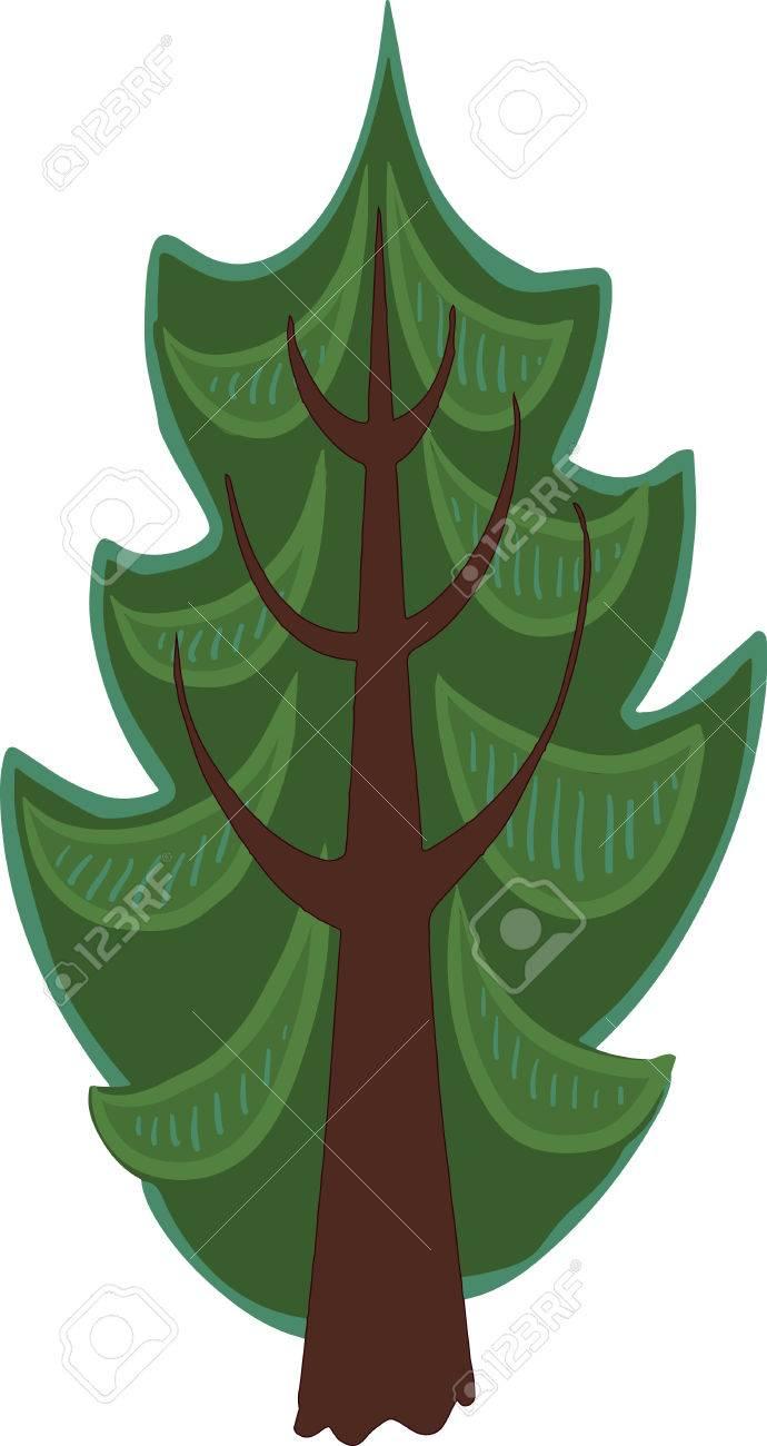 Ilustración De Un árbol De Coníferas De Dibujos Animados Con Agujas